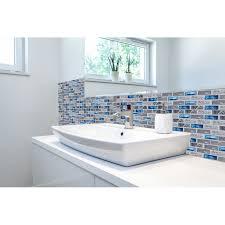 Blue Mosaic Bathroom Mirror by Blue Glass Tile Kitchen Backsplash Subway Marble Bathroom Wall
