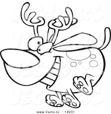 Vector Of A Cartoon Christmas Dog Running And Wearing Antlers