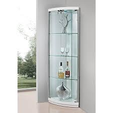 glass corner display units for living room concept