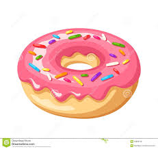Donut with pink glaze and colorful sprinkles Vector illustration