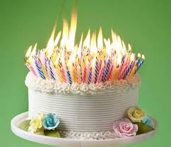 picture of a birthday cake with lots of candles