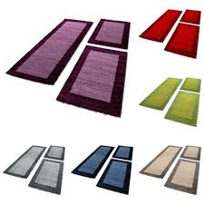 rugs carpets läufer teppich schlafzimmer bettumrandung läuferset 3 teilig klassisch blau home furniture diy new times bg