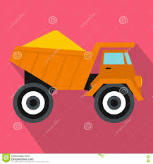 Dump Truck With Sand Icon, Flat Style Stock Vector - Illustration Of ...