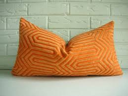 Orange Decorative Pillows Designer Throw Pillow Cover Mid Century