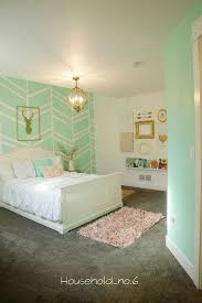 Little Girls Mint And Gold Bedroom Harringbone Wall Kids SpaceHousehold No