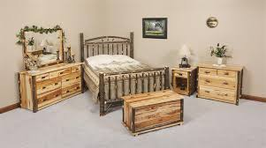 Creative Of Amish Furniture Bedroom Sets Rustic Cabin Hickory Wood Wagon Wheel Set