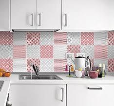 fliesenaufkleber küche wandfarben rot und grau deko ideen packung mit 24 10 x 10 cm