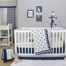 The Peanut Shell 4 Piece Baby Crib Bedding Set Navy Blue Anchor