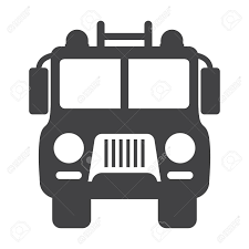 Fire Truck Black Simple Icon On White Background For Web Design ...