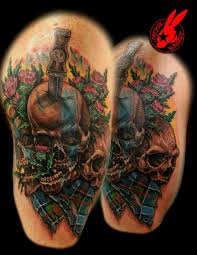 Awesome Scottish Skulls And Tartan Tattoo By Jackie Rabbit
