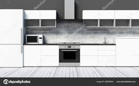 Modern White Kitchen Interior 3d Rendering Stockfoto Und Front View Of Modern Kitchen 3d Interior In White Tones 3d Rendering 249376540
