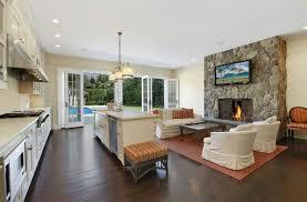 Kitchen Living Room Combo Floor Plans Beige Bevel Stone Tile Backsplash Dark Wooden Dining