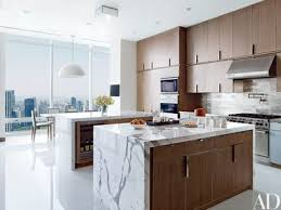 The Kitchen Has Cerused Oak Cabinetry And A Nickel Tile Backsplash