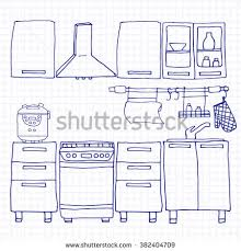 Simple Kitchen Interior Hand Drawn Style Stock Vector