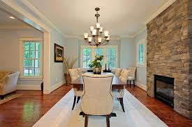 Crown Molding Door Frame Dining Room Traditional With Beige Sofa Stone Fireplace