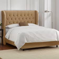 brompton tufted wingback velvet upholstered bed skyline