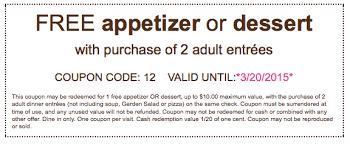 FREE App or Dessert Olive Garden March 2015