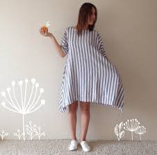 linen dress loose blue and white striped women dress with