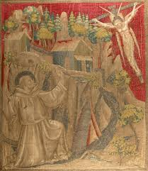textile with francis receiving the stigmata work of