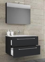 vcm 3 tlg waschplatz badmöbel badezimmer set waschtisch waschbecken schubladen keramik badinos spiegelschrank breite 80 cm schwarz