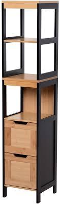 kleankin badezimmerregal badeschrank küchenschrank 2 schubladen 3 ablagen bambus mdf 30 x 30 x 144 3 cm