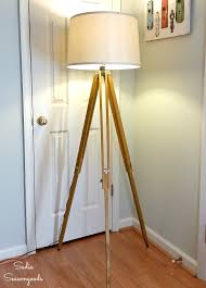 DIY Industrial Floor Lamp With Repurposed Vintage Surveyor's Tripod Floor Lamp With Crystal Shade And Lights Brass Standing Lamps Living Room Remarkable Pottery Barn Style Just Magnificent 2 Bulb Lantern Shopgoodwillcom Unmarked Vintage Similar But Christmas In The Family Room The Sunny Side Up Blog Kitchen Ideas Island Bench Outstanding White Curvy For Which Is 50 Off Antique Mercury Glass Table Family Upstairs Arthur Sectional Sarahs