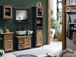 woodkings bad set kansas holz grau badezimmer möbel rustikal 5teilig waschbeckenunterschrank hängeschrank spiegel hochschrank kommode