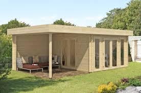 abri bois toit plat chalet corsaro 12 m épaisseur 44mm