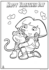 Dora Happy Valentines Day Coloring Page 8