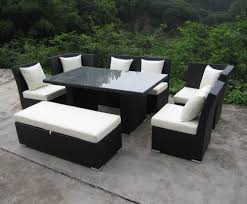 patio sofa dining set jamaican sofa and dining set in black wicker ivory fabric