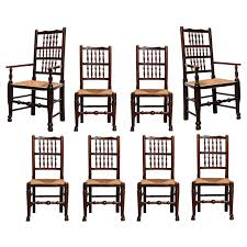 100 Dining Chairs Country English Style Set Of Eight Early 19th Century Spindle Back