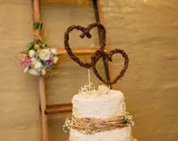 Two Heart Shape Twig Topper Grapevine Rustic Cursive Cake Wedding