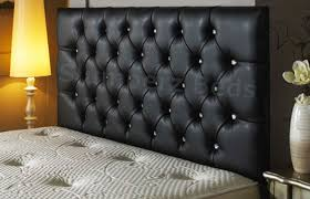 Black Leather Headboard Bed by Bedford Buttoned Faux Leather Headboard