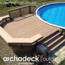 Above Ground Pool Ladder Deck Attachment by Trex Low Maintenance Material Built Around An Above Ground Pool