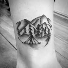 Small Simple Shaded Black And Grey Ink Lower Leg Camping Tattoo Ideas On Guys