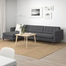 landskrona 4er sofa mit récamiere gunnared dunkelgrau holz