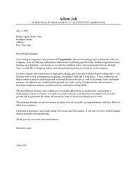 Resume Cover Letter Examples Programmer