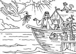 Bible Noah And The Ark With Pigeon Coloring Page