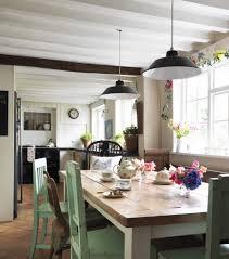 farm table lighting dining room farmhouse with light green wall