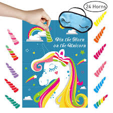 Amazoncom Unomor Pin The Horn On The Unicorn Party Game For