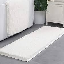 lonior badematte rutschfeste badezimmer teppich waschbar badteppich extralange anthrazit hochflor badvorleger weiß 120 x 45 cm