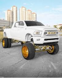 100 White Pick Up Truck 4th Gen Megacab Dually Ram Uberlifted All White With Gold Accents