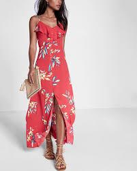 floral print ruffle button front maxi dress red print women u0027s x