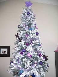 Flocked Christmas Tree With Purple Decor From My Personal Home