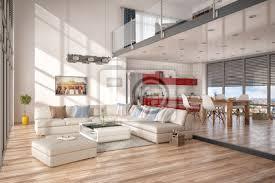 minimalistisch modern eingerichtetes loft mit wohnzimmer küche bilder myloview