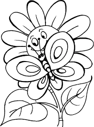 Flower N Butterfly Pose With Smile Coloring Pages