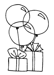 Birthday Present Coloring Page Balloons To Colouring