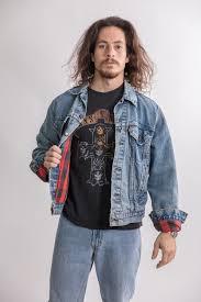 Vintage 90S Red Lumberjack Mens Levis Denim Jacket Mi Label With Clothing