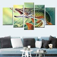 hqatpr leinwand malerei 5 panel druck angeln hecht fisch