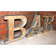 Marquee BAR Vintage Light Up Objects Metal Letters Word LED Industrial
